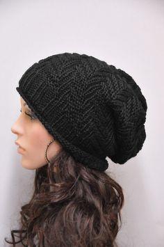 Gorro de lana de invierno Sombrero grueso sombrero negro