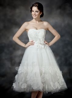 A-Line/Princess Sweetheart Tea-Length Satin Tulle Wedding Dress With Ruffle Lace Beading Flower(s) Bow(s) (002017203) - JJsHouse