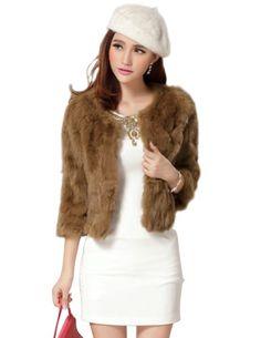 Senfloco Womens Elegant Solid Rex Rabbit Fur Coat Jacket 3 Quarter Sleeve (Small, Camel)