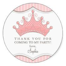 Princess Birthday Pink Crown Thank You Sticker