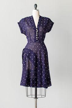 vintage 1940s navy squares print hip drape dress