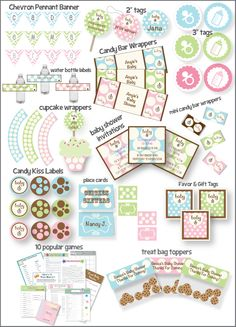 Another pinner said: This baby shower guide does all of the planning for you! Over 20 printable items for a baby shower (boy, girl and neutral colors included) - favor tags, water bottle labels, printable games, name tags, place cards and recipes for punch and appetizers. And you get to keep the files forever so you can use them over and over again! PrintItBaby.com