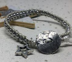 Silver Swarovski pearl and leather bracelet Wrap Bracelets, Swarovski Pearls, Personalized Items, Silver, Leather, Wire Wrap Bracelets, Money
