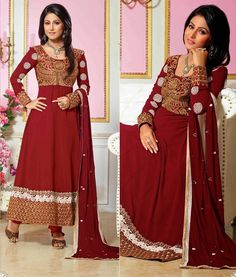Chanderi Resham & Zari Work Red Semi Stitched Long Anarkali Suit - 6005 at Rs 1578