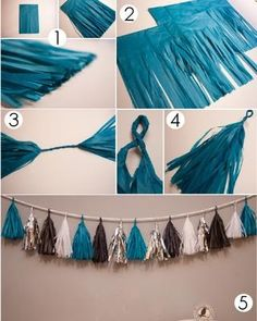 DIY tassel garland- cut up plastic tablecloths! (works in the rain too!)