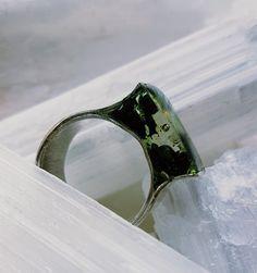 Ring | zilver kunsthars groen