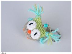 Handmade Owl Key Holder,Crochet Bag Charm,Miniature Amigurumi,Cute Gift For Kids,Keyring Hanging Owl,Children Keychain,Schlüsselanhänger