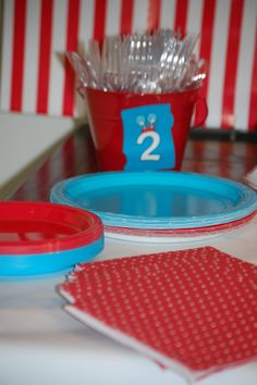 Thing One & Thing Two Baby Shower -red buckets for serving