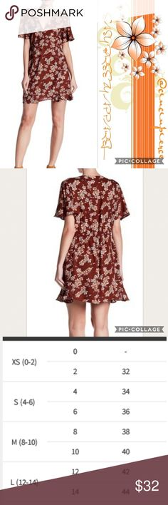 """DRESS 🌺 LACE FLORAL DRESS Pretty rust floral dress 🌺 Short sleeve 🌺 Deep V ladder lace floral print 🌺 Ruffle hem for an ultimate attire 🌺 approx length 34"""" 🌺 Size small 🌺 100% Rayon Angie Dresses Midi"""