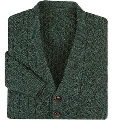 V-Neck Aran Green Cardigan at Creative Irish Gifts.