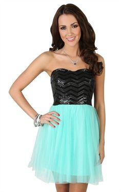 Deb Shops Strapless Black and #mint #Dress with Sequin Leather Bodice and Tulle Ballerina Skirt  $52.90