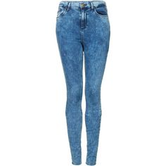 TOPSHOP Tall MOTO Mottled Bleach Leigh Jeans ($76) ❤ liked on Polyvore featuring jeans, pants, bottoms, calças, pantalones, bleach stone, skinny leg jeans, tall skinny jeans, blue jeans and tall jeans