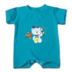 Blue Cute Bear Turquoise Cute T-romper For Baby No Minimums-Funny Clothing shop from HICustom.net .24 hour service available.