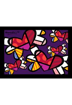 LOVE IS IN THE AIR TOO embellished giclée on canvas by Romero Britto (framed) $750