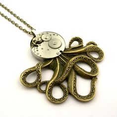 Items similar to Steampunk Octopus Pendant Necklace - Clockwork Cephalopod Necklace - The Brainiacs - Clockpunk Octopus on Etsy Octopus Jewelry, Steampunk Octopus, Halloween Sale, Pocket Watch, Trending Outfits, Unique Jewelry, Handmade Gifts, Accessories, Vintage