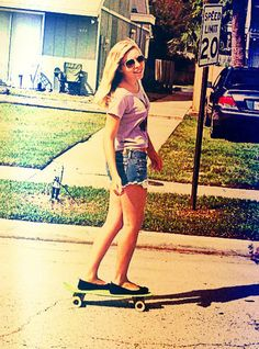 Riding penny boards to get coffee~<3