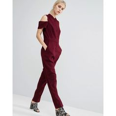 ASOS Collarless Jumpsuit with Shirt Detail (1.310 RUB) via Polyvore featuring jumpsuits, purple, zipper jumpsuit, asos jumpsuit, going out jumpsuits, jump suit и prom jumpsuit