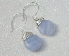 Blue lace Agate Briolette Earrings  Wire Wrapped by Kikiburrabeads, $25.00