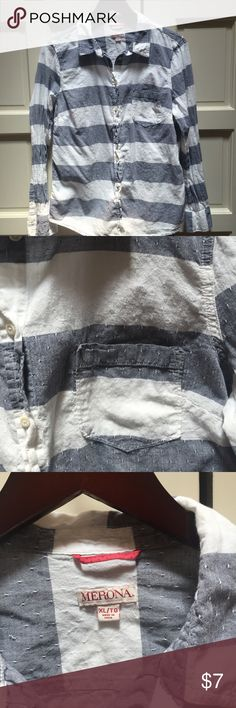 Long sleeve chambray and striped shirt Merona long sleeve shirt. In great condition-just really wrinkles and needs an iron. No tears or stains. Merona Tops Button Down Shirts
