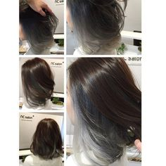Asian hair is so hard to get that gray, silver color. - Asian hair is so hard to get that gray, silver color. I keep the top area … get - Brown Ombre Hair, Ombre Hair Color, Gray Hair, Balliage Hair, Hair Updo, Underlights Hair, Face Shape Hairstyles, Long Hair Video, Corte Y Color