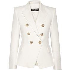 Balmain Double-breasted basketweave cotton blazer found on Polyvore featuring outerwear, jackets, blazers, white, white jacket, tailored blazer, white double breasted blazer, cotton blazer and balmain blazer
