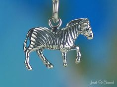 Zebra Charm Sterling Silver Wild Animal African by jewelbecharmed, $9.95