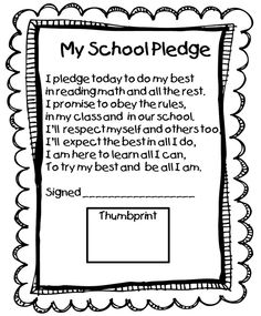 This may be good to include in data notebooks. School Pledge- What a great way to get students thinking about their responsibility to be great citizens.