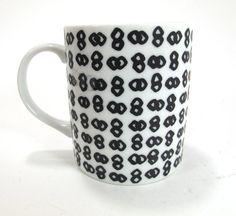 Vintage 1980's Japanese B/W Mug via kokorokoko: From the Domino for Toscany Collection #Mug #Vintage