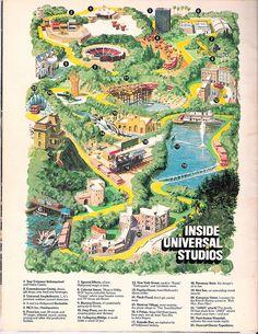 Universal Studios brochures - when all Universal offered was the backlot tour Film Studio, Studio City, Futurama, Theme Park Map, Universal Studios Parking, The Backlot, Runaway Train, Lights Camera Action, Valley Girls