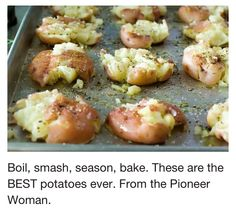Potatoes From Pioneer Woman- amazing! I used fresh rosemary sprigs on top of mine and served with pork loin- these would have been great with fish too! Another pinner recommends using chicken broth in place of the olive oil.