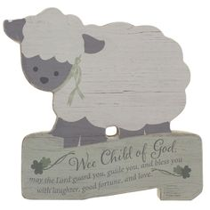 This adorable lamb plaque is a perfect gift for that precious little one! Hang it above their crib. The neutral color shades make it perfect for either a boy or girl.