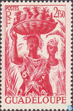 1947 Guadeloupe - Woman with pineapples