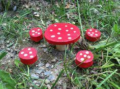 Fairy woodland mushroom table and stool set by LightofdayCreations, $9.50