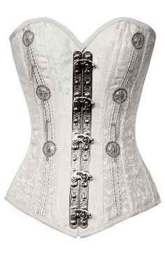 Long Line White Brocade Pattern Corset with Pewter Embellishment