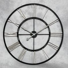 Extra Large Metal Skeleton Wall Clock With Silver Numerals