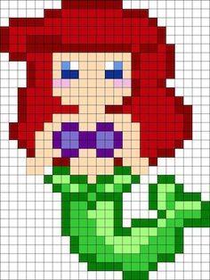 Ariel - maybe Hama beads pattern for Ellie Pearler Bead Patterns, Kandi Patterns, Perler Patterns, Beading Patterns, Loom Beading, Perler Bead Designs, Hama Beads Design, Perler Bead Disney, Perler Bead Art