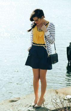 yellow // mustard shirt // b striped cardigan