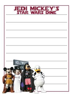 "Jedi Mickey's Star Wars Dine - Hollywood & Vine - Hollywood Studios - Star Wars - Project Life Journal Card - Scrapbooking ~~~~~~~~~ Size: 3x4"" @ 300 dpi. This card is **Personal use only - NOT for sale/resale** Hollywood and Vine/Star Wars/characters belong to Disney. Font is Star Jedi www.dafont.com/star-jedi.font *** Click through to photobucket for more versions of this card ***"