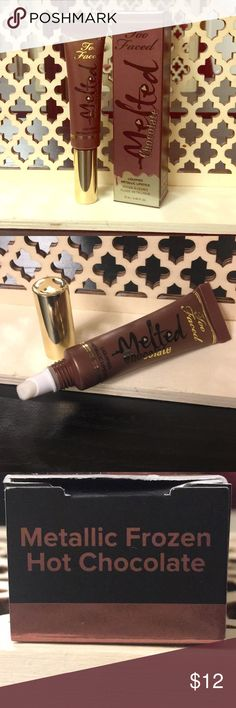 """Too Faced Melted Chocolate Lipstick Too Faced melted chocolate liquid metallic lipstick in """"Metallic Frozen Hot Chocolate"""". New and has not been used. Too Faced Makeup Lipstick"""