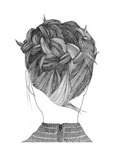 More Design Please - MoreDesignPlease - Hair Drawn Up.  Drawing Hair.... Great site, link to etsy store for hair drawings