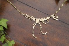Tyrannosaurus Rex Necklace, Dinosaur Necklace, T Rex Necklace, Fossil, Unique Necklace, Gold, Jurassic Park, Jurassic World