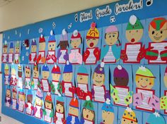 3rd grade carolers bulletin board.....could use this and make concert invitations out of it!