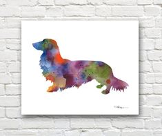 Long Haired Dachshund Art Print Abstract by 1GalleryAbove on Etsy