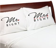 Mr Right Mrs Always Right PillowCases  Bridal Shower  by eugenie2, $25.00