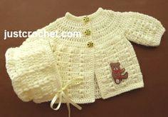 Free baby crochet pattern for preemie coat and bonnet set. http://www.justcrochet.com/preemie-coat-bonnet-usa.html #justcrochet