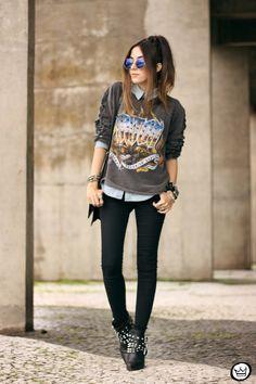 black | grunge | rock | pants | boots | bag | sunglass | dark | simple |