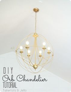 DIY orb chandelier tutorial. Knock off of Restoration Hardware for living room VERY tall ceilings