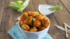 NEW Slow-Cooker Buffalo Chicken Meatballs — These party-ready slow-cooker meatballs get an extra kick from Buffalo sauce. Pair with blue cheese dressing and celery sticks.