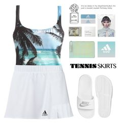 """""""Show me what you got"""" by erika-cizmar ❤ liked on Polyvore featuring J.Crew, adidas, NIKE, NARS Cosmetics, white, tennis, skirtstyle and tennisskirt"""