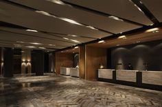 Hotel Dua / Koan Design; layered neutrals, geometric ceiling - Lauren